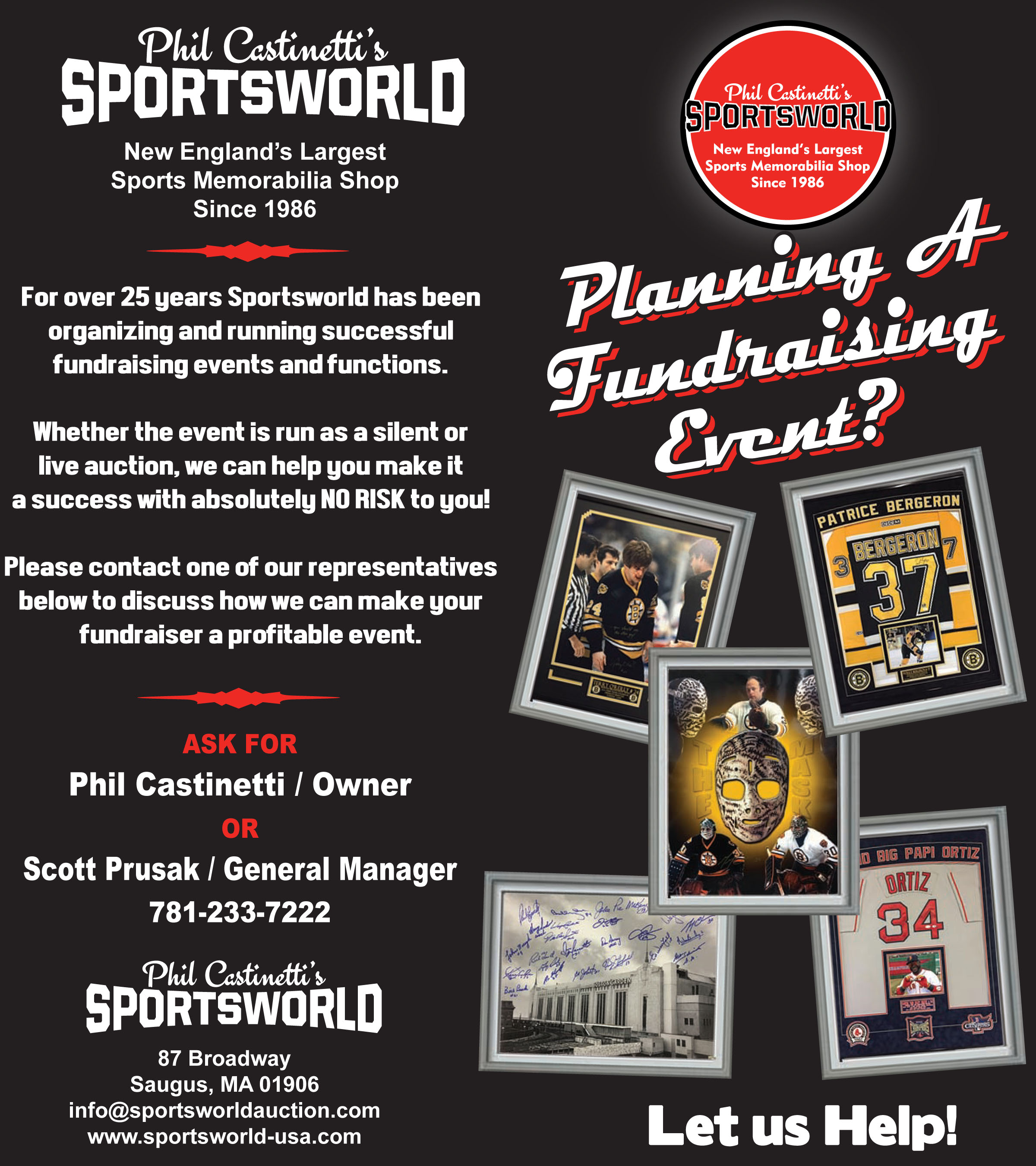 charity auction flyer info sportsworld largest memorabilia shop in