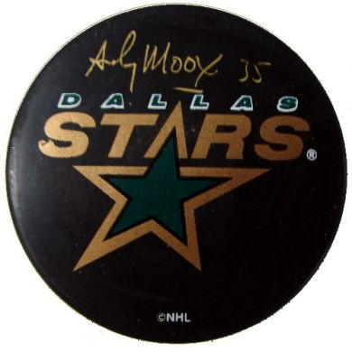 Andy Moog Autographed Dallas Stars Puck