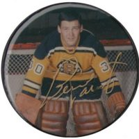 Bernie Parent Autographed Bruins Photo Puck