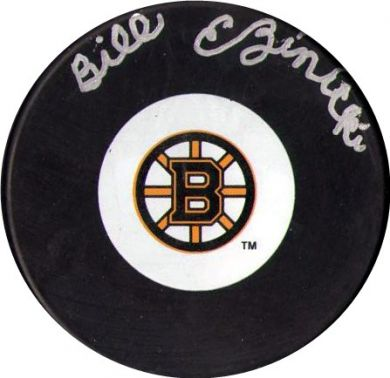 Bill-Ezinicki-Autographed-Boston-Bruins-Hockey-Puck-NHL-001