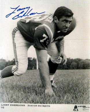Larry Eisenhauer Autographed Boston Patriots 8x10 Photo