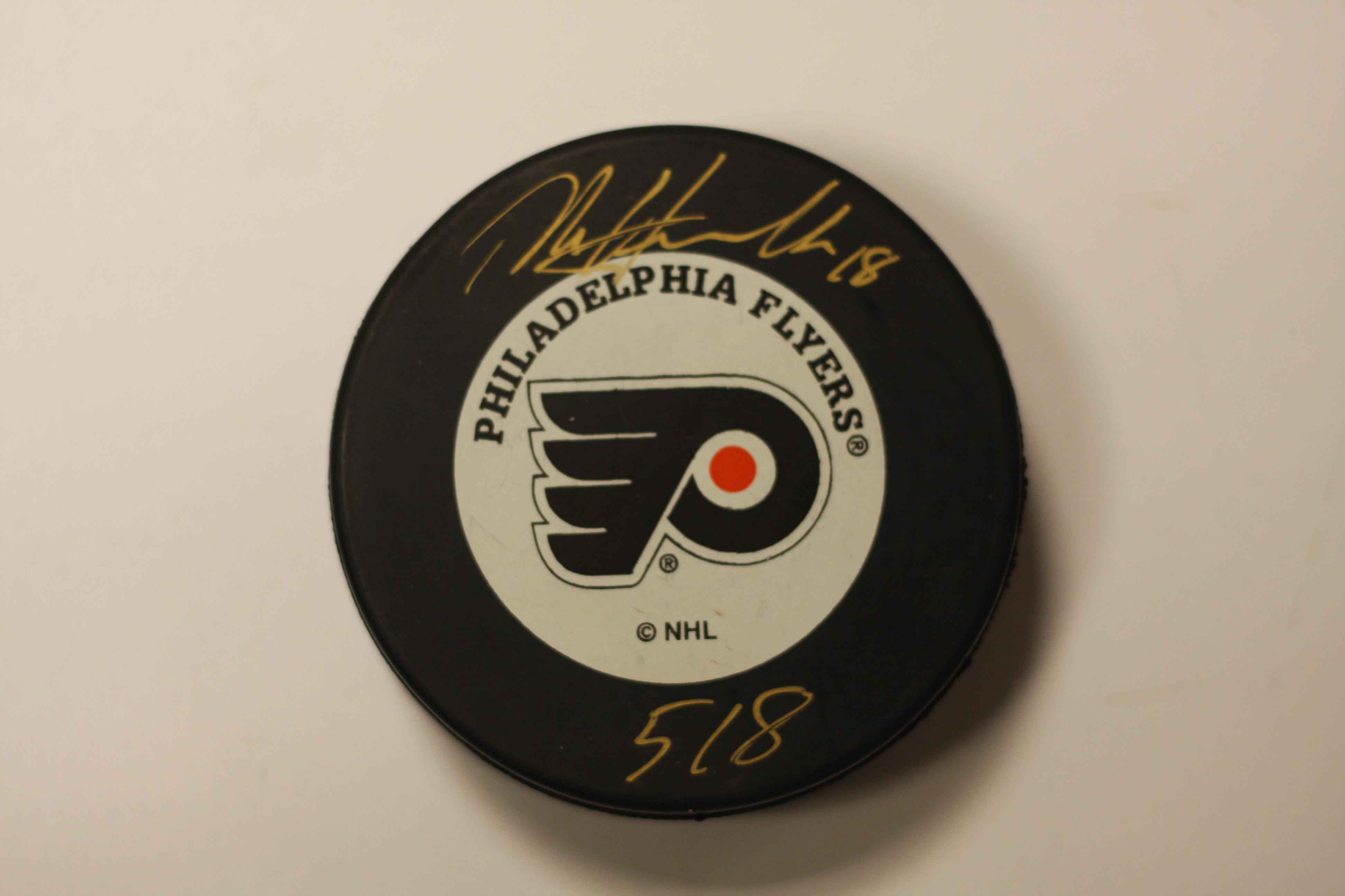 huge sale 55da7 b49f2 Dale Hawerchuck Philadelphia Flyers signed puck 518 Inscr