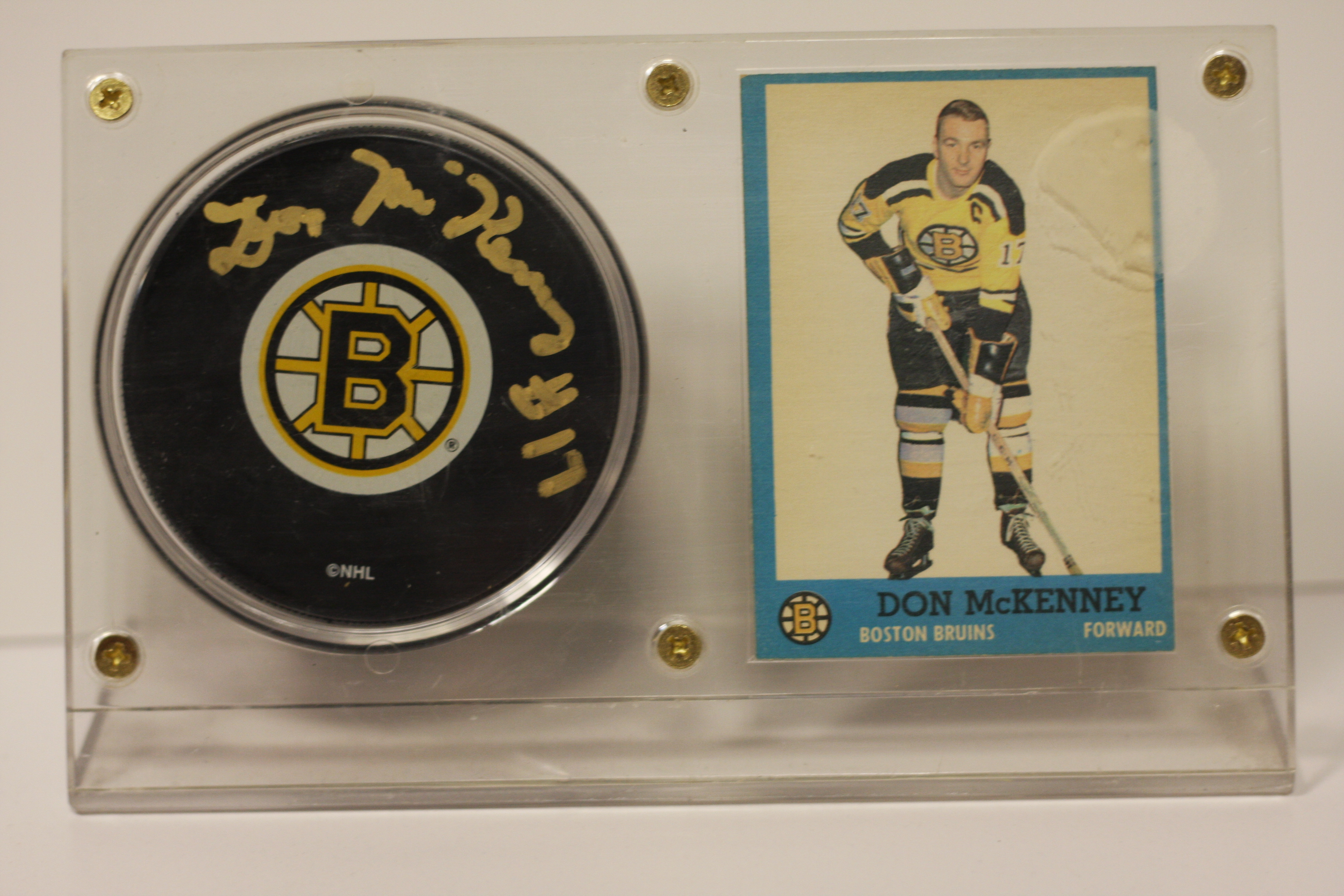 promo code a2975 6e510 Don McKenney Boston Bruins Card and signed puck display