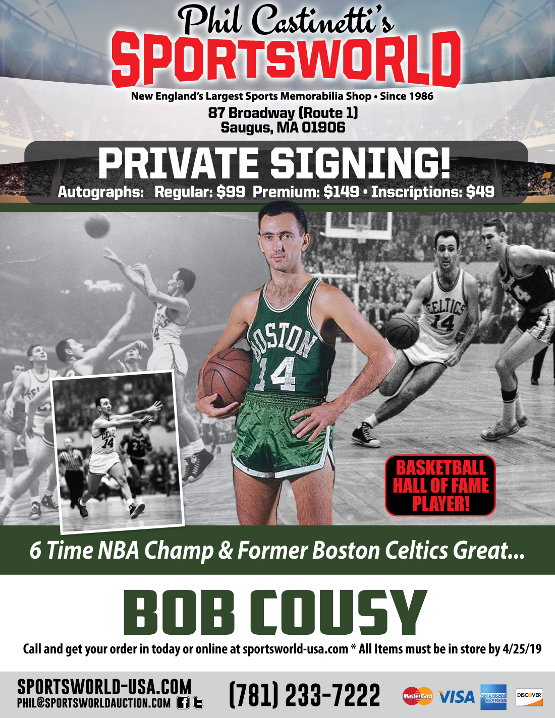1fb32279b Bob Cousy Private Signing May 2019 - Sportsworld Largest Memorabilia ...