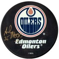 Andy Moog Autographed Edmonton Oilers Puck
