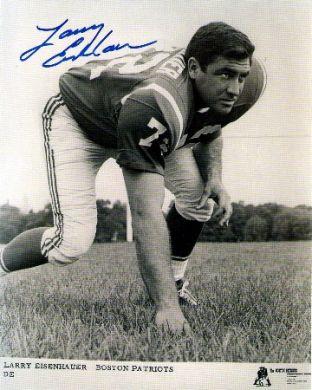 Larry Eisenhauer Autographed Boston Patriots 8x10 Photo
